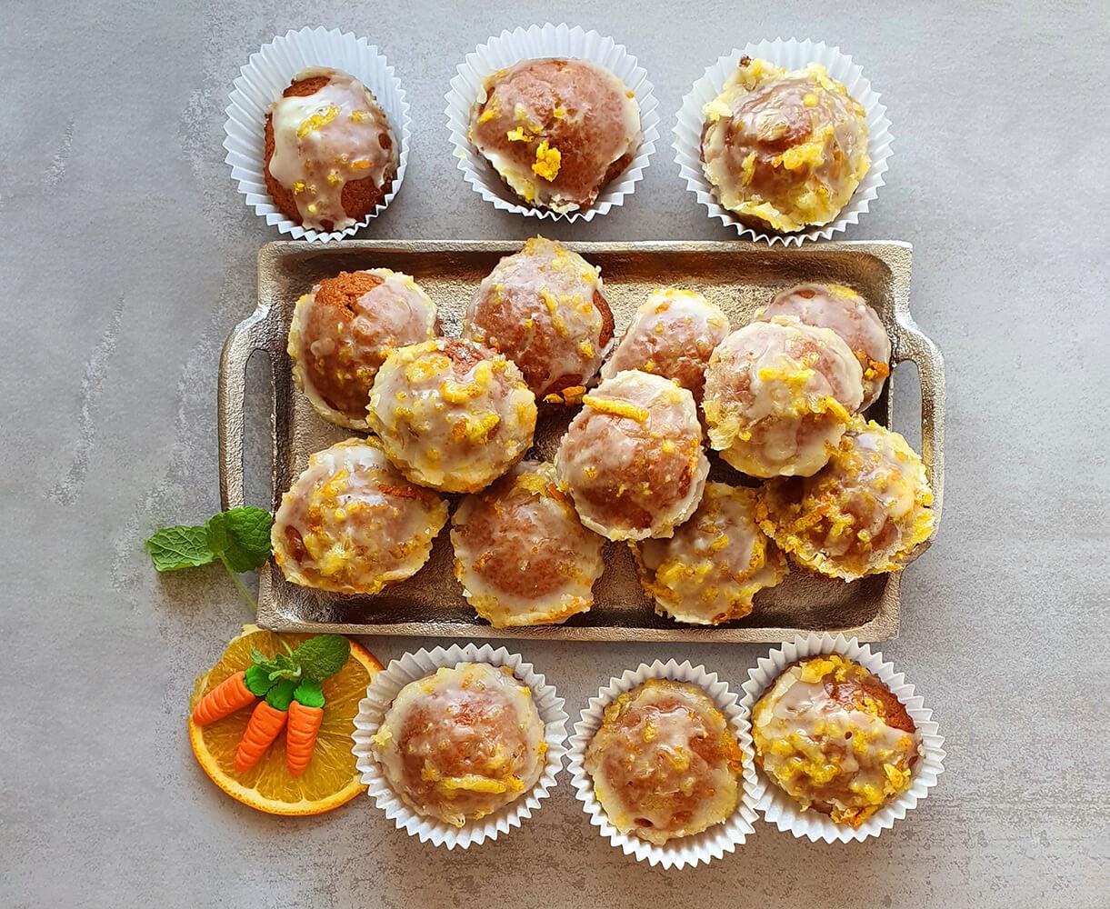 Marchewkowe babeczki wlukrze pomarańczowym